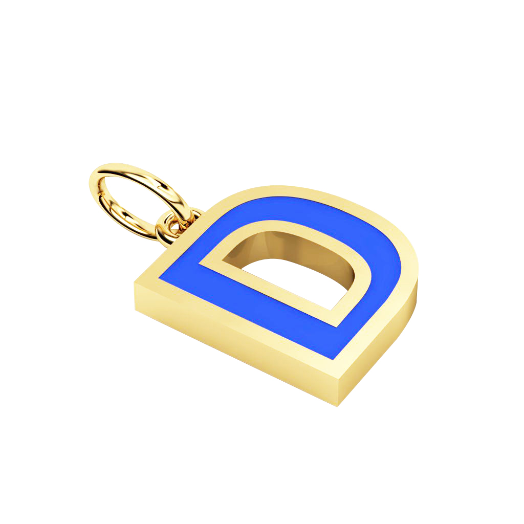 Alphabet Capital Initial Letter D Pendant, made of 925 sterling silver / 18k gold finish with blue enamel