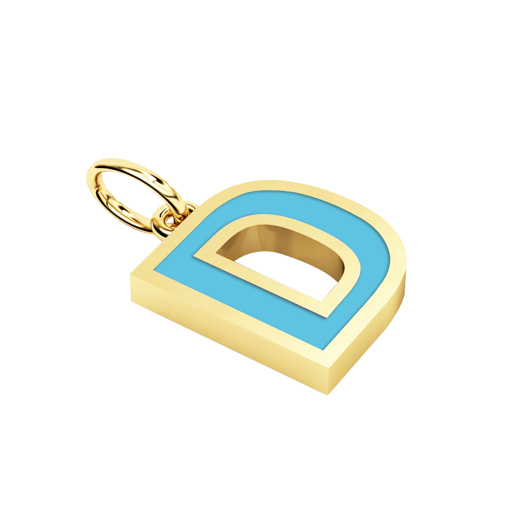 Alphabet Capital Initial Letter D Pendant, made of 925 sterling silver / 18k gold finish with turquoise enamel