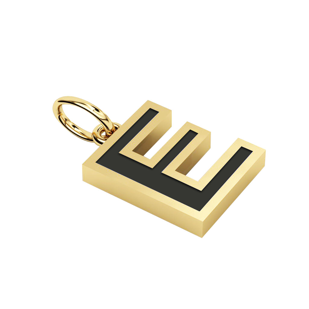 Alphabet Capital Initial Letter E Pendant, made of 925 sterling silver / 18k gold finish with black enamel