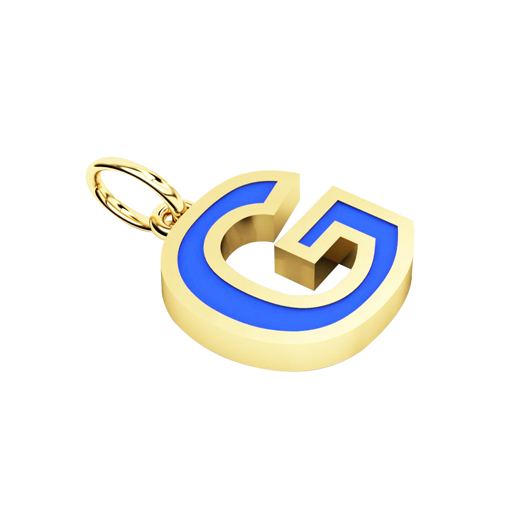Alphabet Capital Initial Letter G Pendant, made of 925 sterling silver / 18k gold finish with blue enamel