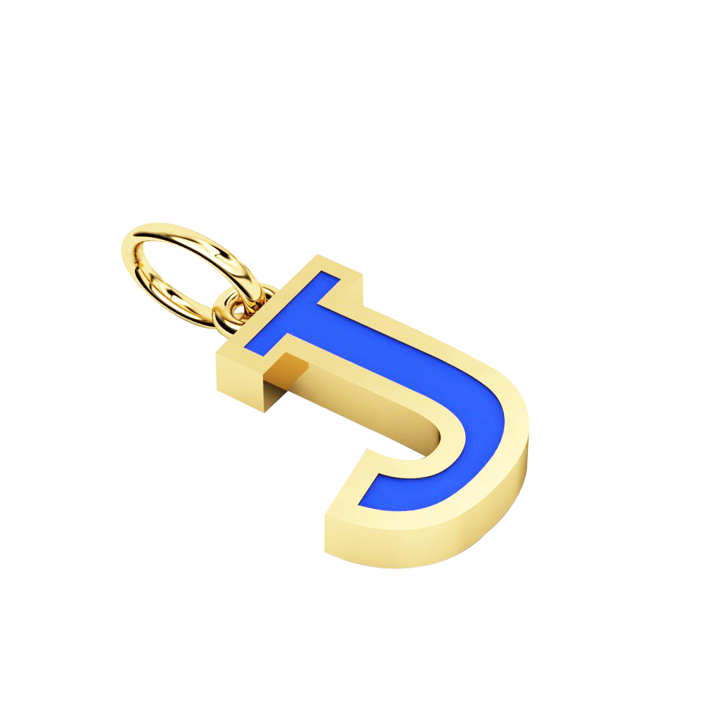 Alphabet Capital Initial Letter J Pendant, made of 925 sterling silver / 18k gold finish with blue enamel