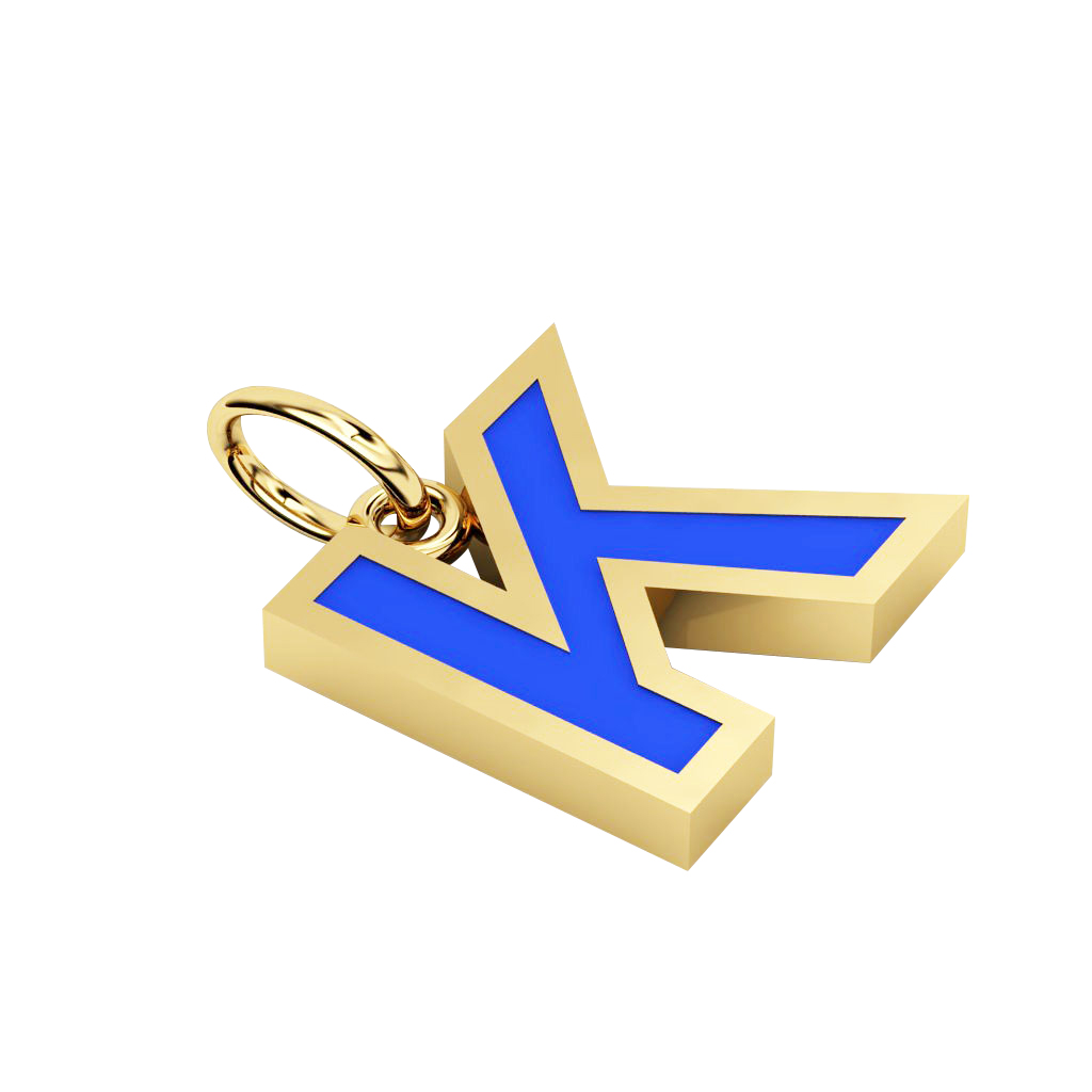 Alphabet Capital Initial Letter K Pendant, made of 925 sterling silver / 18k gold finish with blue enamel