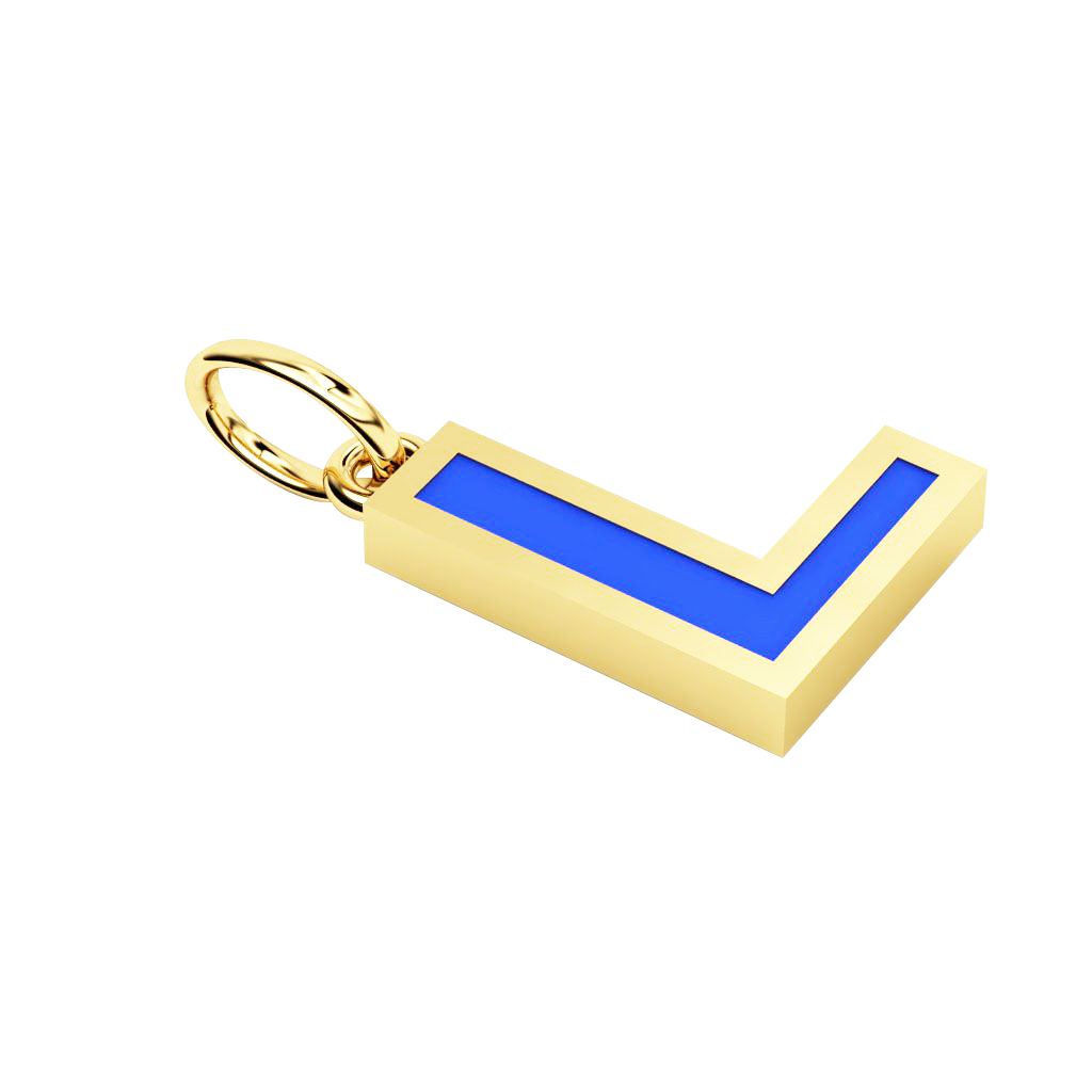 Alphabet Capital Initial Letter L Pendant, made of 925 sterling silver / 18k gold finish with blue enamel