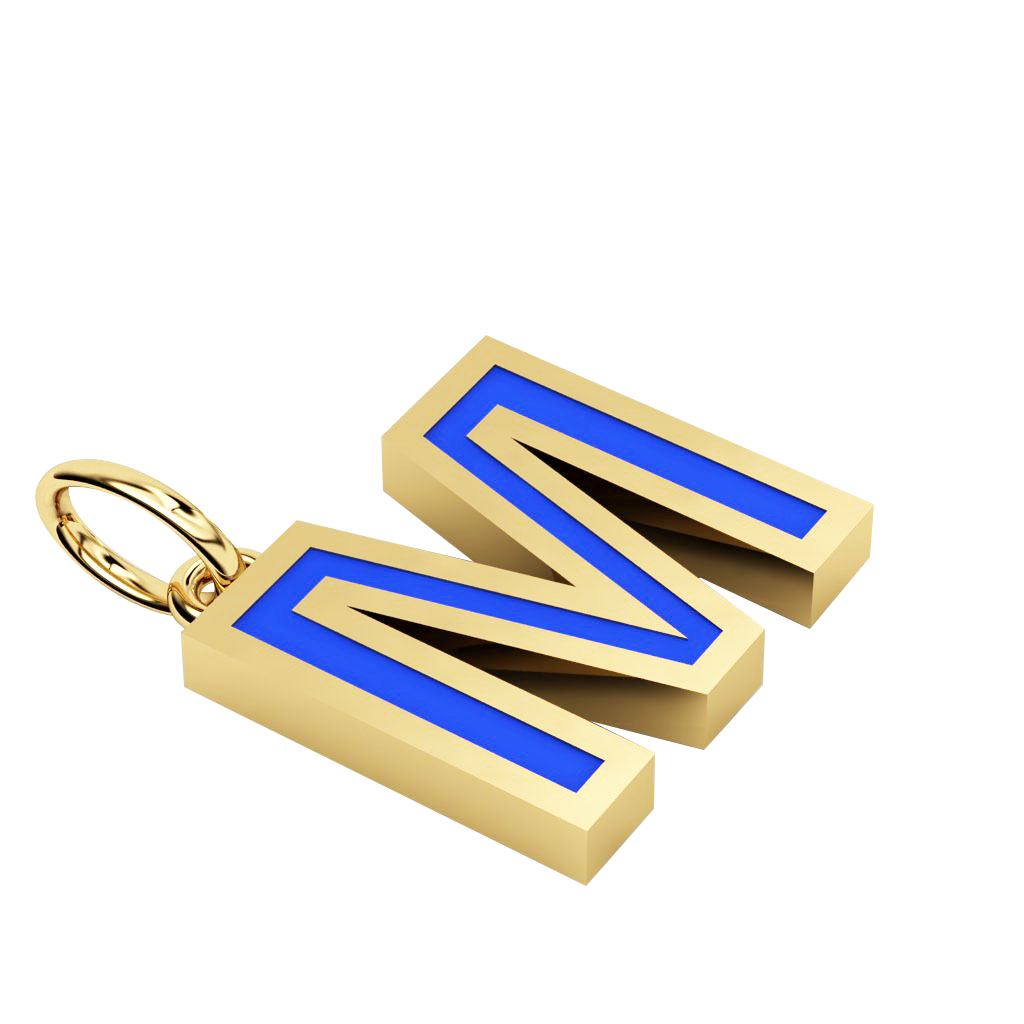 Alphabet Capital Initial Letter M Pendant, made of 925 sterling silver / 18k gold finish with blue enamel