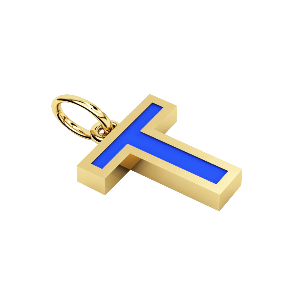 Alphabet Capital Initial Letter T Pendant, made of 925 sterling silver / 18k gold finish with blue enamel