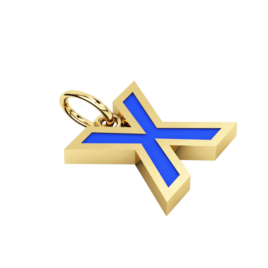 Alphabet Capital Initial Letter X Pendant, made of 925 sterling silver / 18k gold finish with blue enamel