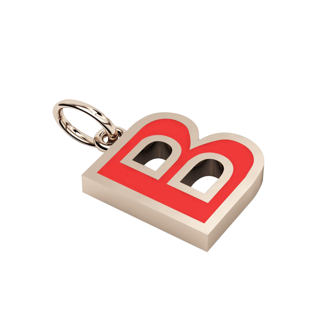 Alphabet Capital Initial Letter B Pendant, made of 925 sterling silver / 18k rose gold finish with red enamel
