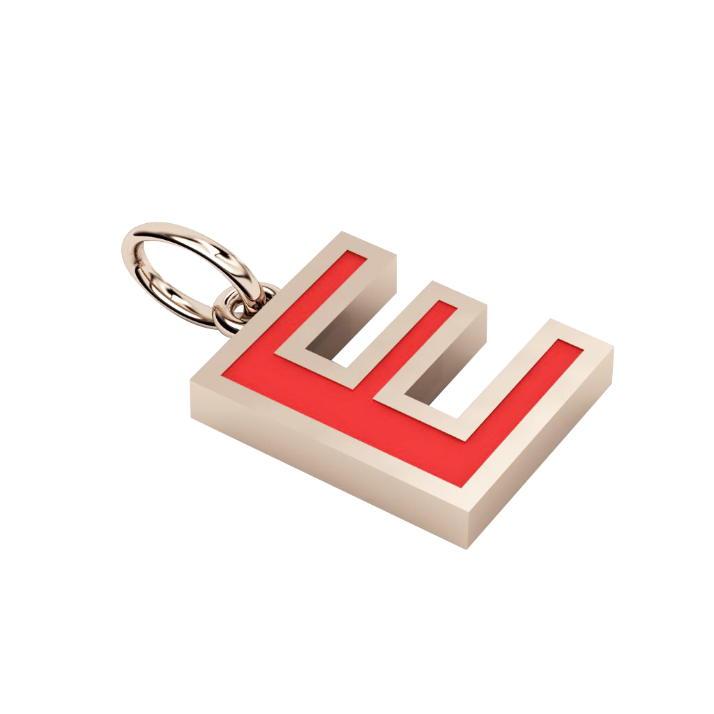 Alphabet Capital Initial Letter E Pendant, made of 925 sterling silver / 18k rose gold finish with red enamel