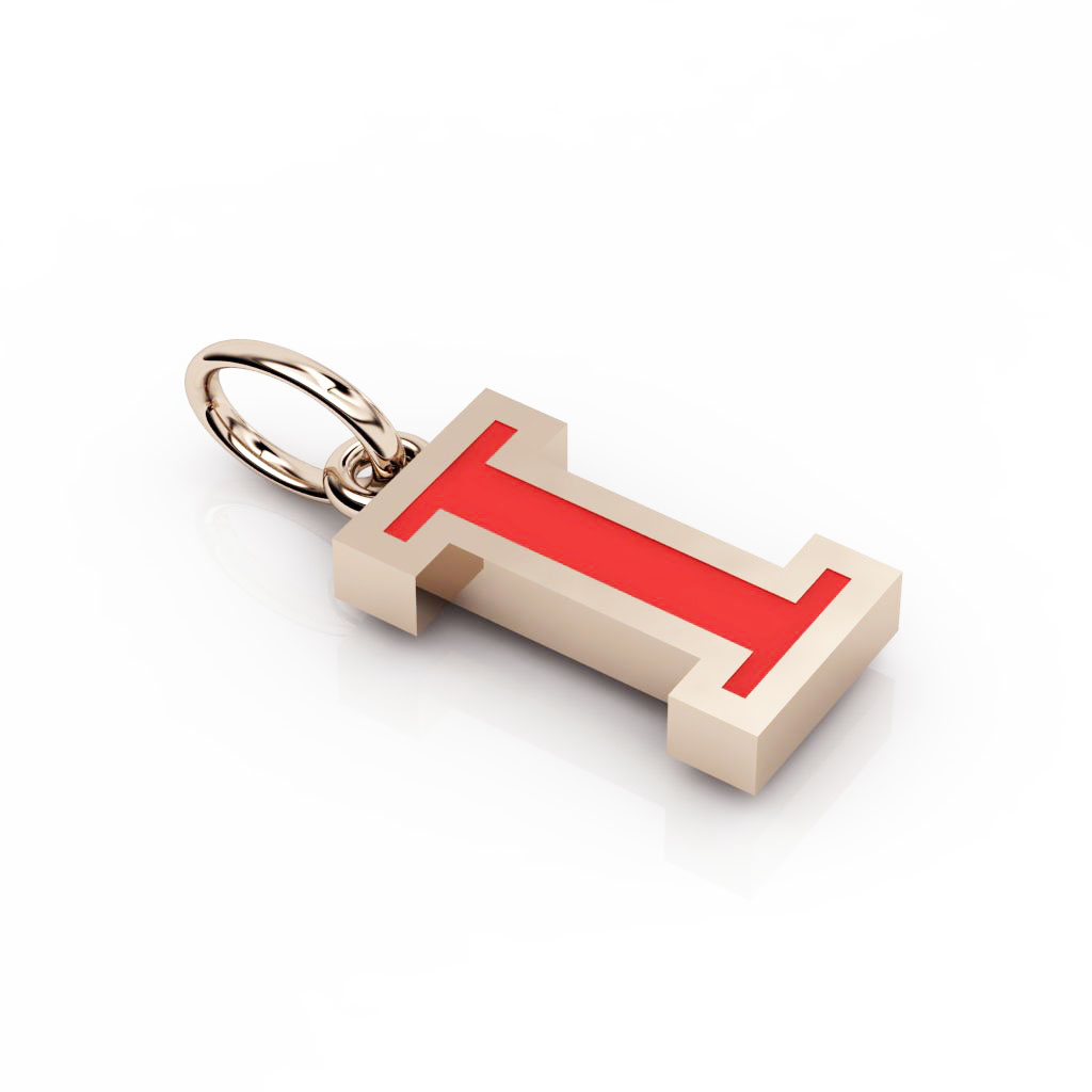 Alphabet Capital Initial Letter I Pendant, made of 925 sterling silver / 18k rose gold finish with red enamel