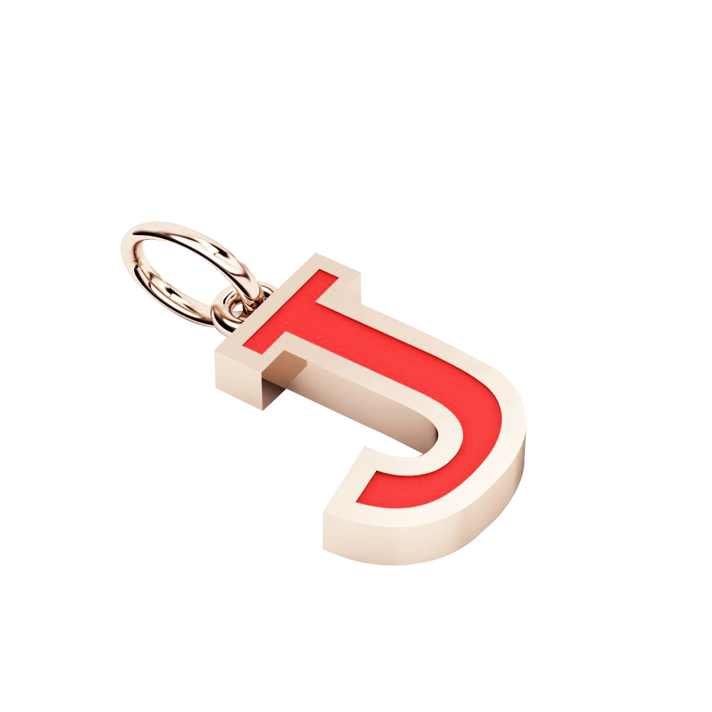 Alphabet Capital Initial Letter J Pendant, made of 925 sterling silver / 18k rose gold finish with red enamel
