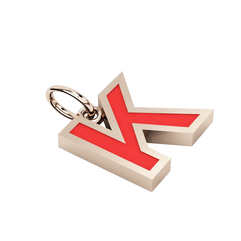 Alphabet Capital Initial Letter K Pendant, made of 925 sterling silver / 18k rose gold finish with red enamel