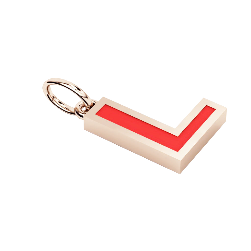 Alphabet Capital Initial Letter L Pendant, made of 925 sterling silver / 18k rose gold finish with red enamel