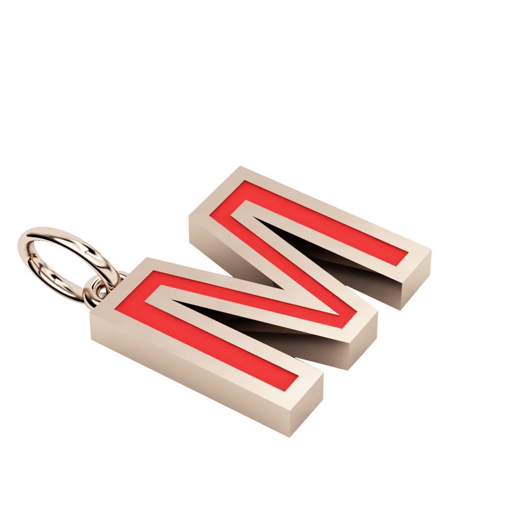 Alphabet Capital Initial Letter M Pendant, made of 925 sterling silver / 18k rose gold finish with red enamel
