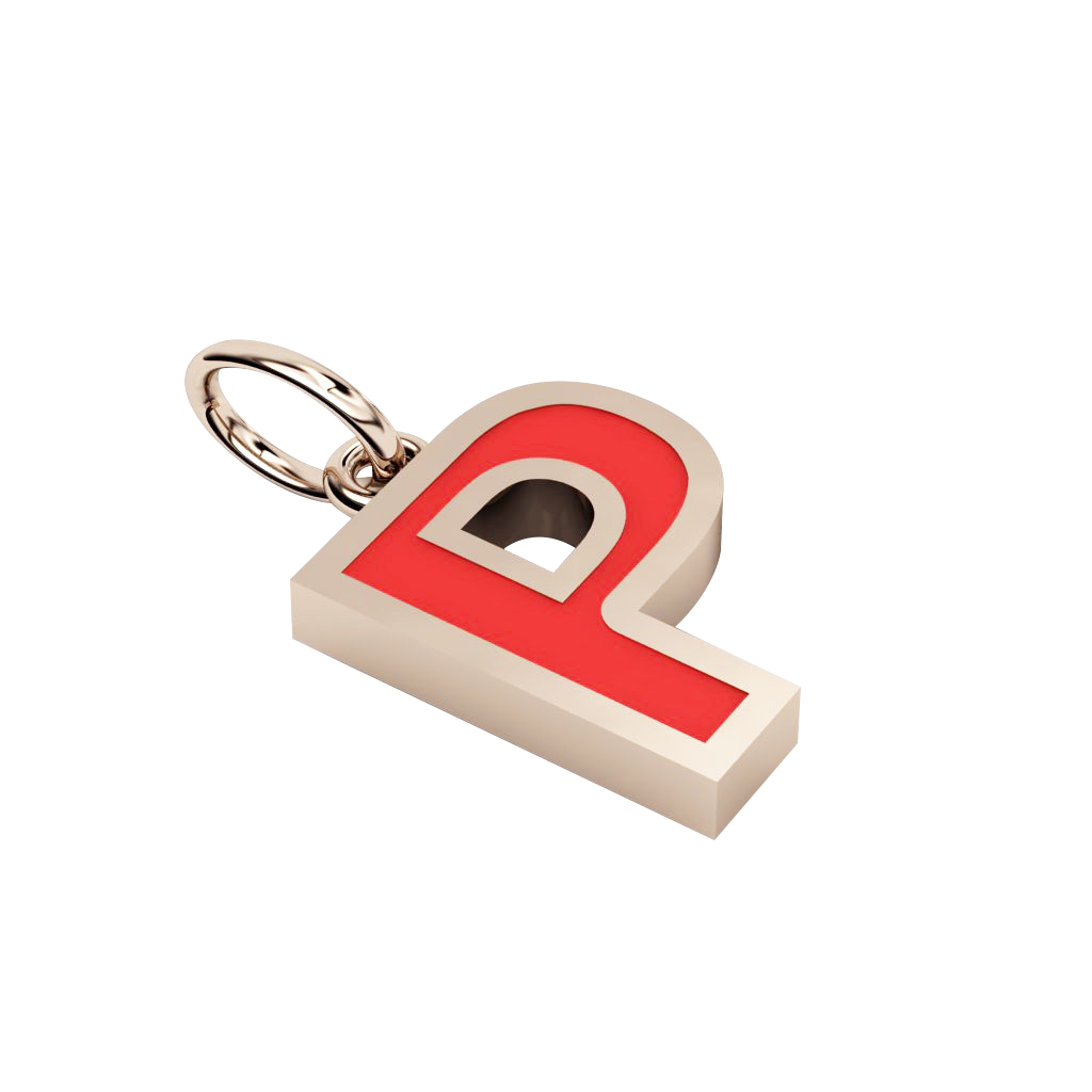 Alphabet Capital Initial Letter P Pendant, made of 925 sterling silver / 18k rose gold finish with red enamel