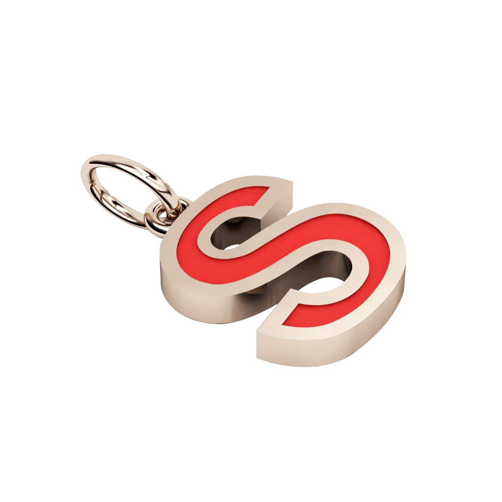 Alphabet Capital Initial Letter S Pendant, made of 925 sterling silver / 18k rose gold finish with red enamel
