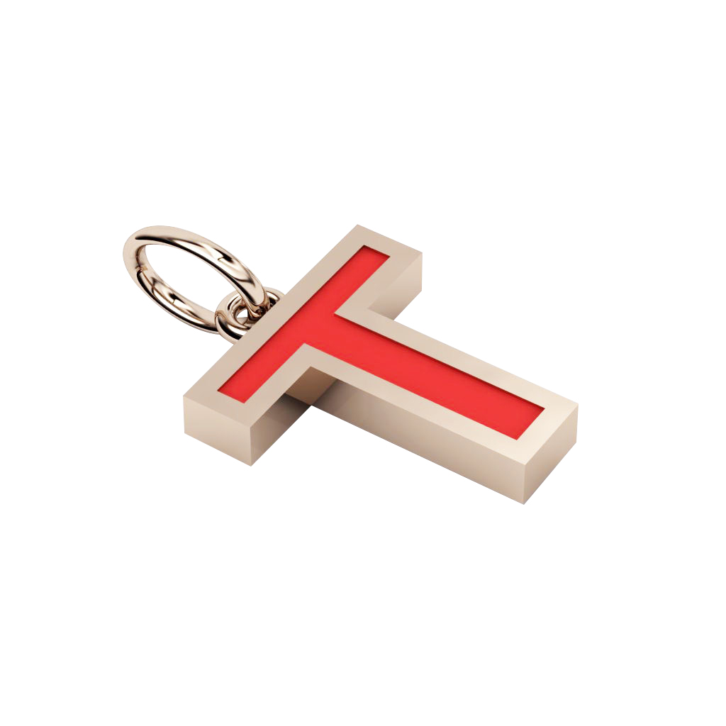 Alphabet Capital Initial Letter T Pendant, made of 925 sterling silver / 18k rose gold finish with red enamel