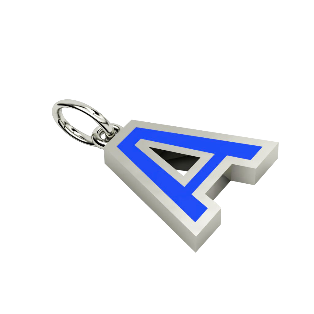 Alphabet Capital Initial Letter A Pendant, made of 925 sterling silver / 18k white gold finish with blue enamel