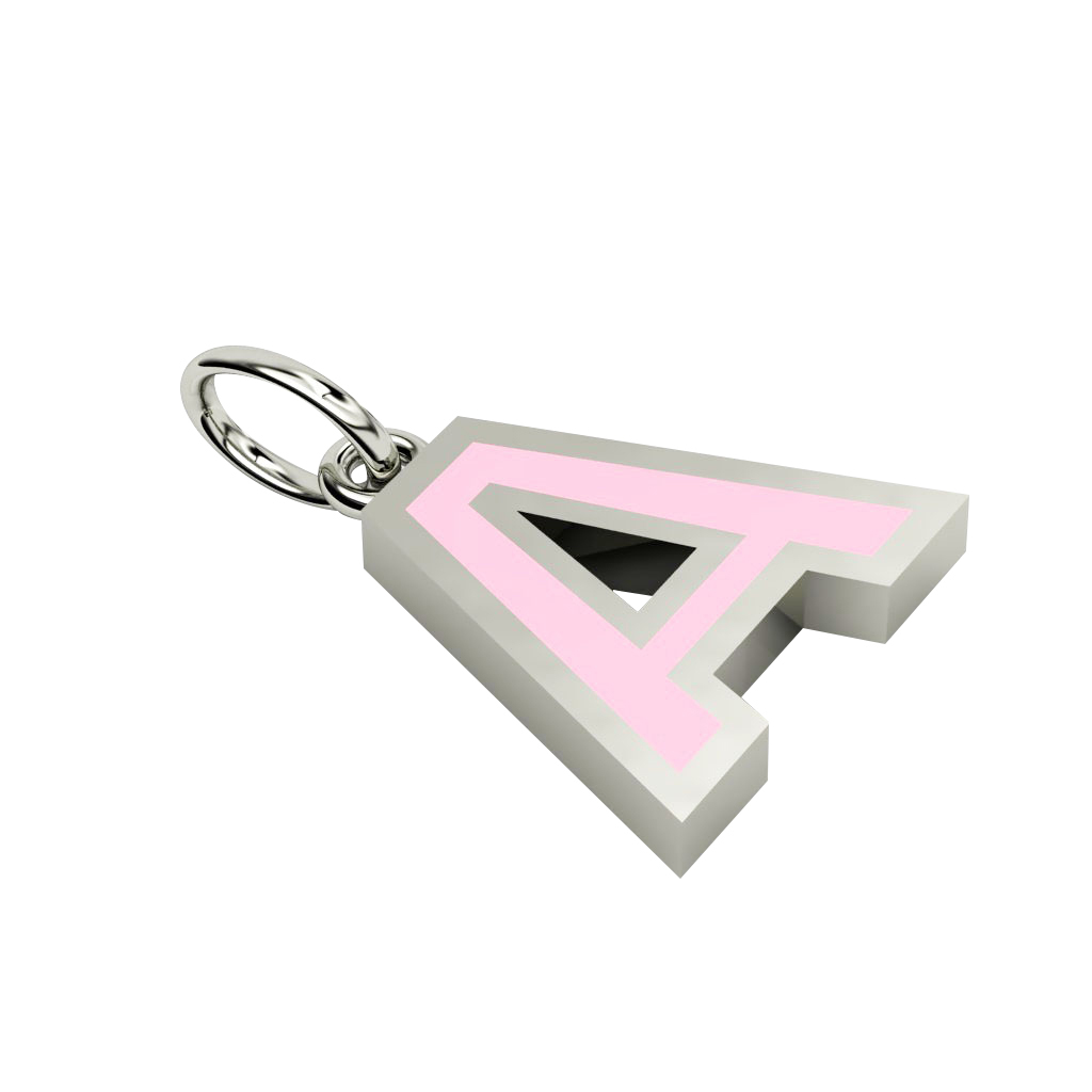 Alphabet Capital Initial Letter A Pendant, made of 925 sterling silver / 18k white gold finish with pink enamel