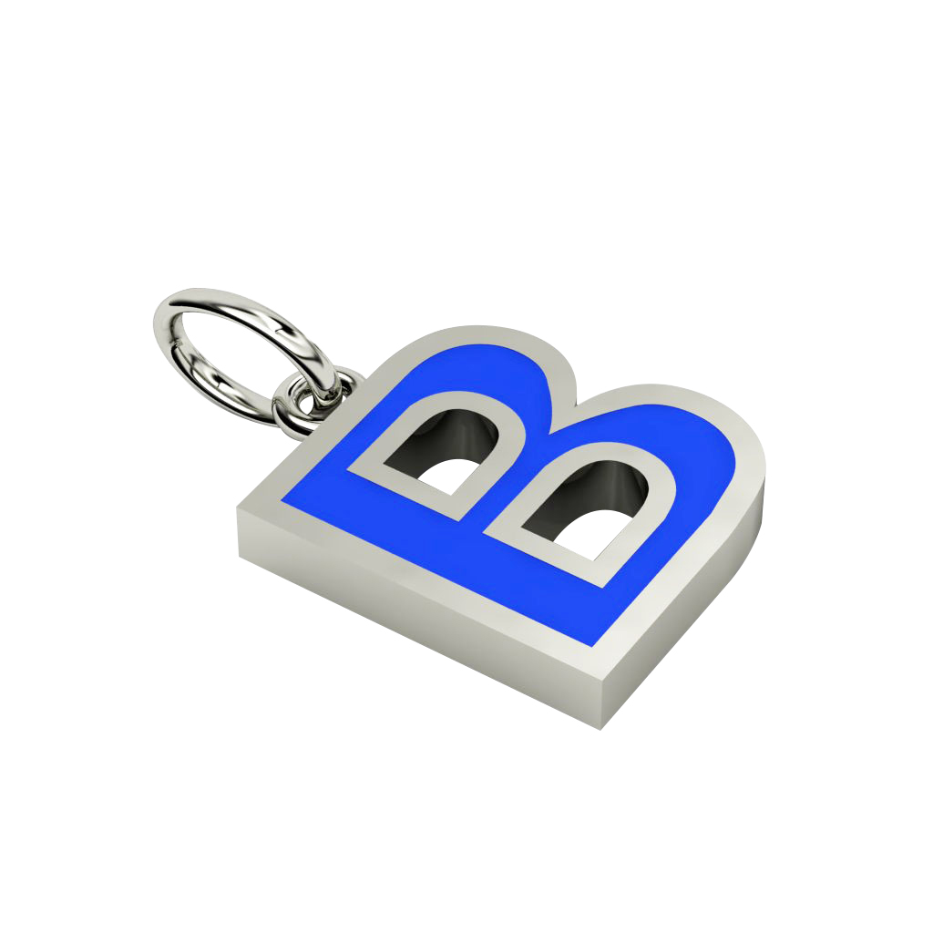 Alphabet Capital Initial Letter B Pendant, made of 925 sterling silver / 18k white gold finish with blue enamel