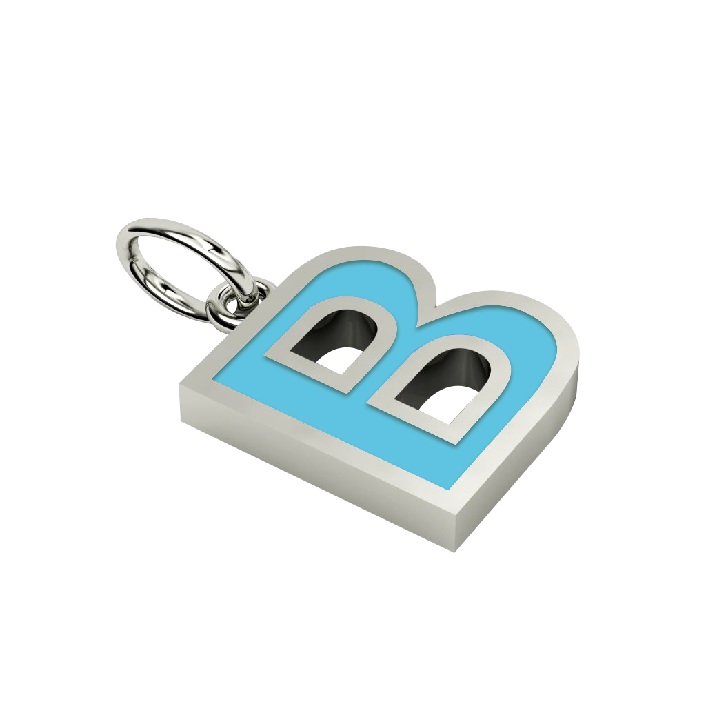 Alphabet Capital Initial Letter B Pendant, made of 925 sterling silver / 18k white gold finish with turquoise enamel