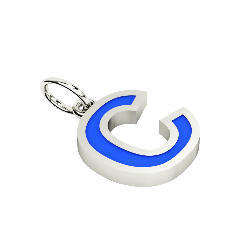 Alphabet Capital Initial Letter C Pendant, made of 925 sterling silver / 18k white gold finish with blue enamel