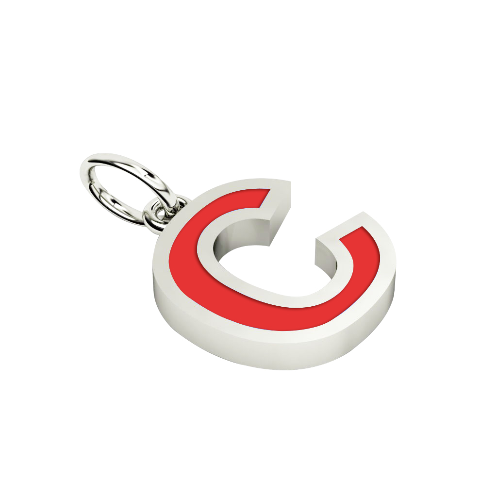 Alphabet Capital Initial Letter C Pendant, made of 925 sterling silver / 18k white gold finish with red enamel
