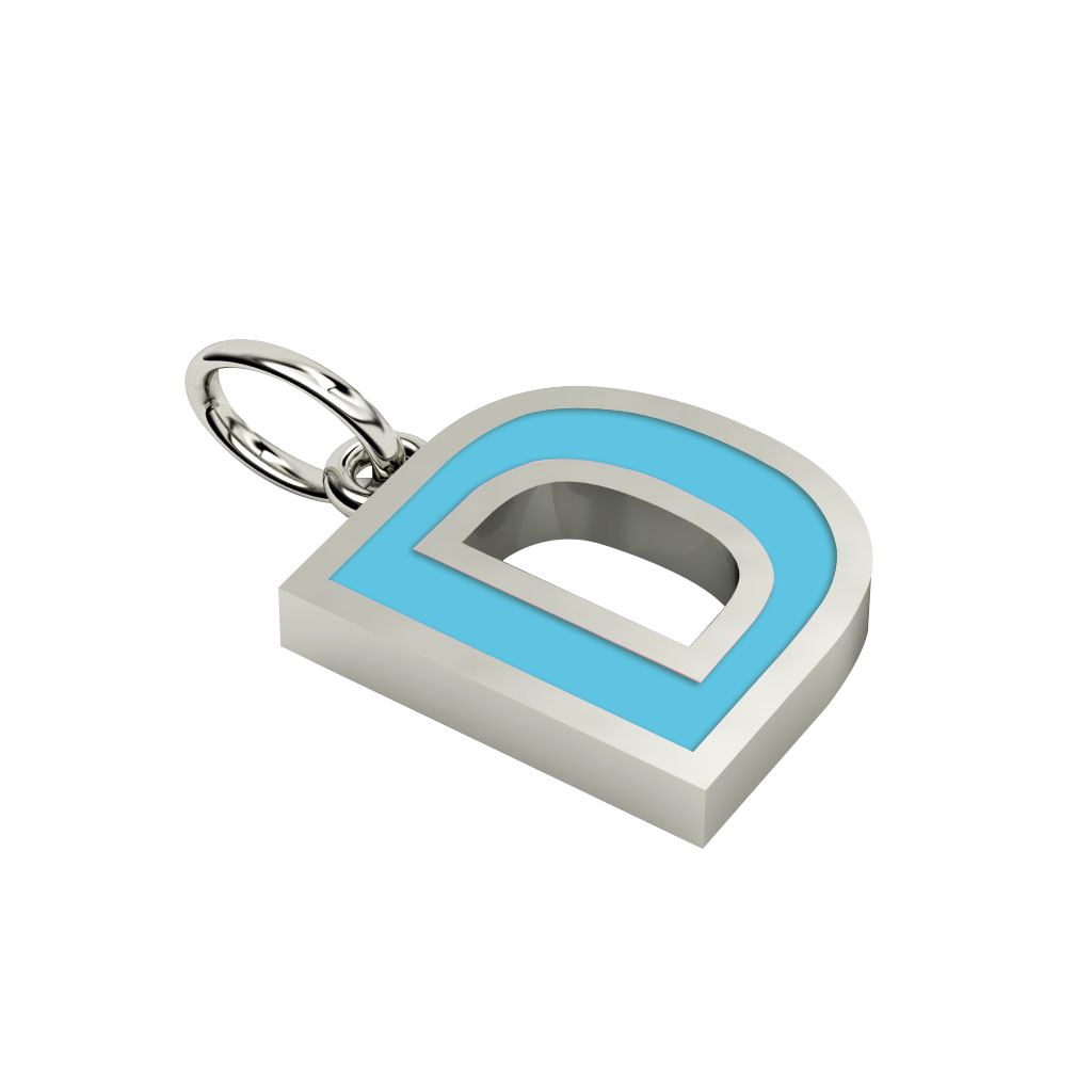 Alphabet Capital Initial Letter D Pendant, made of 925 sterling silver / 18k white gold finish with turquoise enamel