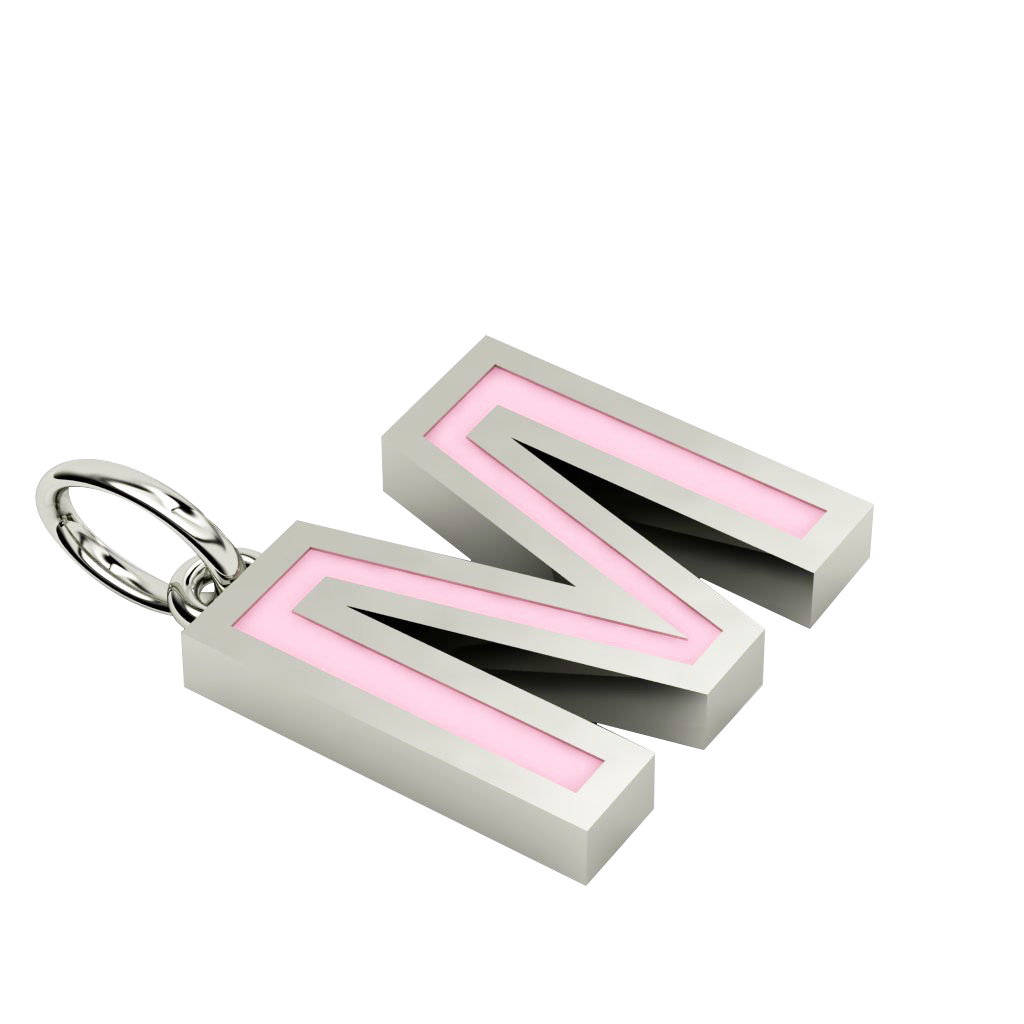 Alphabet Capital Initial Letter M Pendant, made of 925 sterling silver / 18k white gold finish with pink enamel