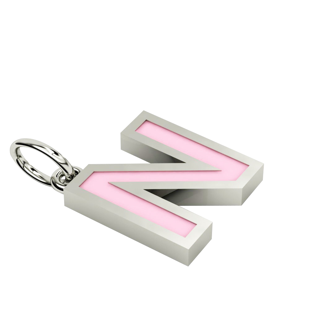 Alphabet Capital Initial Letter N Pendant, made of 925 sterling silver / 18k white gold finish with pink enamel