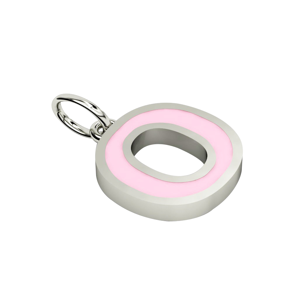 Alphabet Capital Initial Letter O Pendant, made of 925 sterling silver / 18k white gold finish with pink enamel