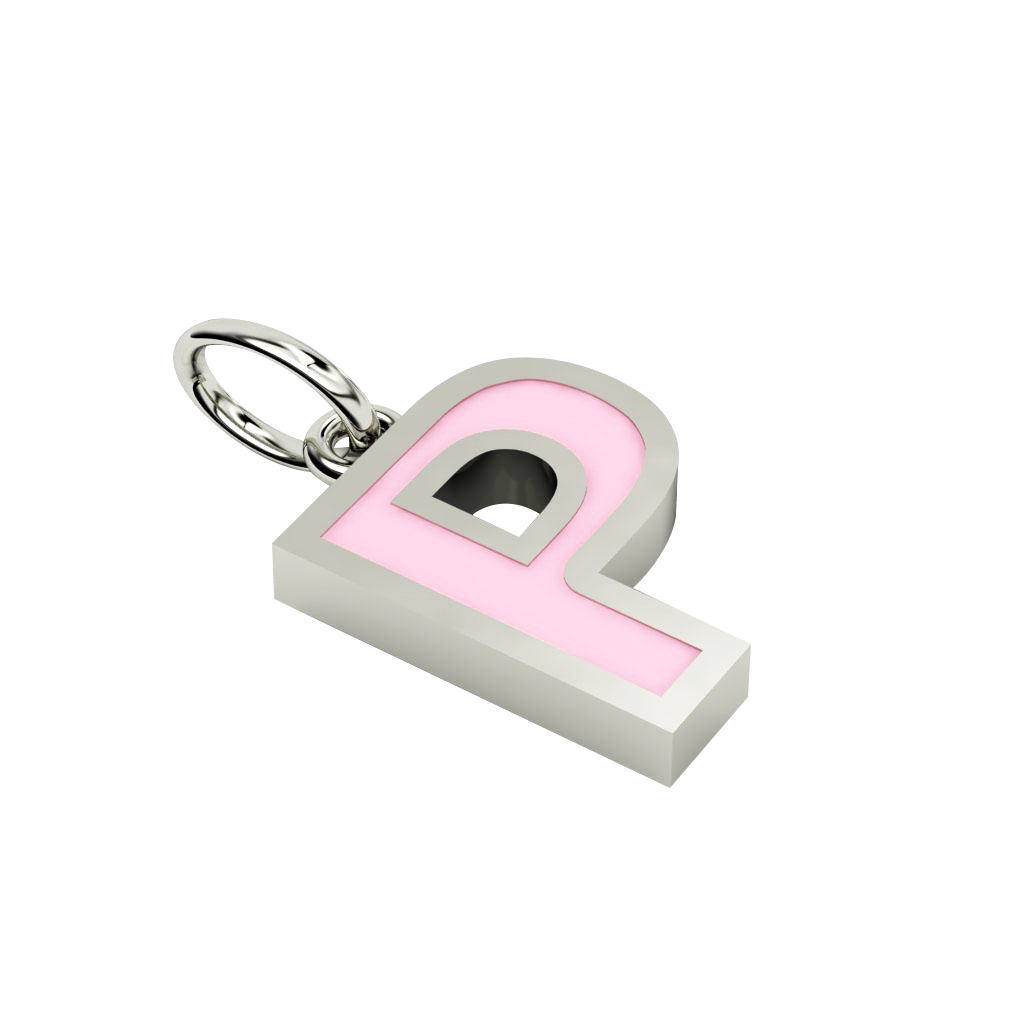 Alphabet Capital Initial Letter P Pendant, made of 925 sterling silver / 18k white gold finish with pink enamel