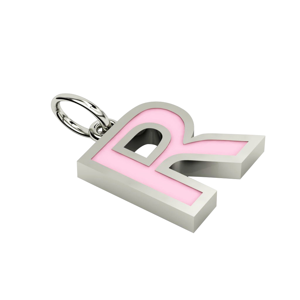 Alphabet Capital Initial Letter R Pendant, made of 925 sterling silver / 18k white gold finish with pink enamel