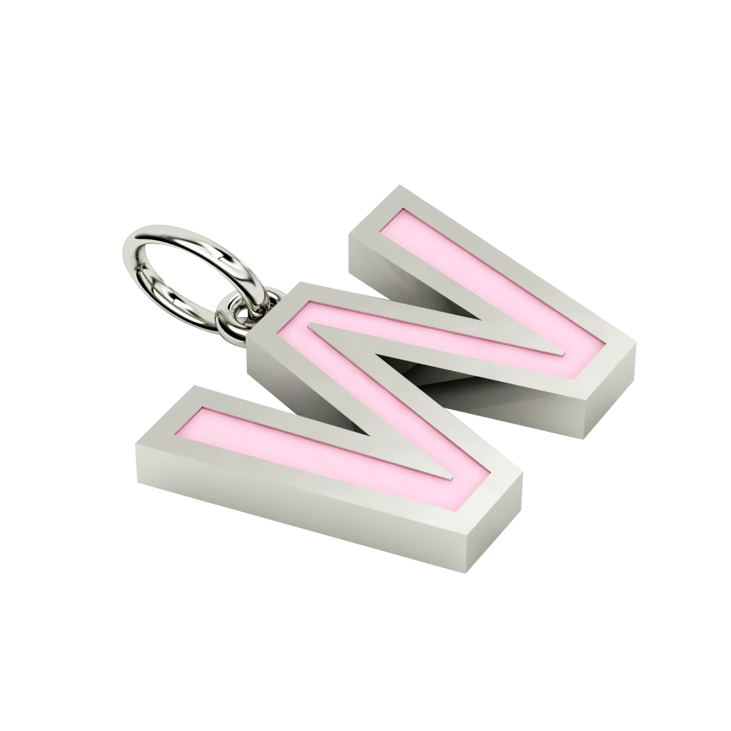 Alphabet Capital Initial Letter W Pendant, made of 925 sterling silver / 18k white gold finish with pink enamel
