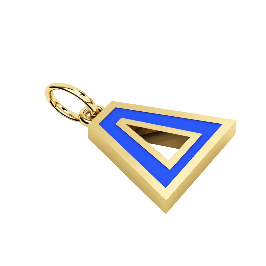 Alphabet Capital Initial Greek Letter Δ Pendant, made of 925 sterling silver / 18k gold finish with blue enamel