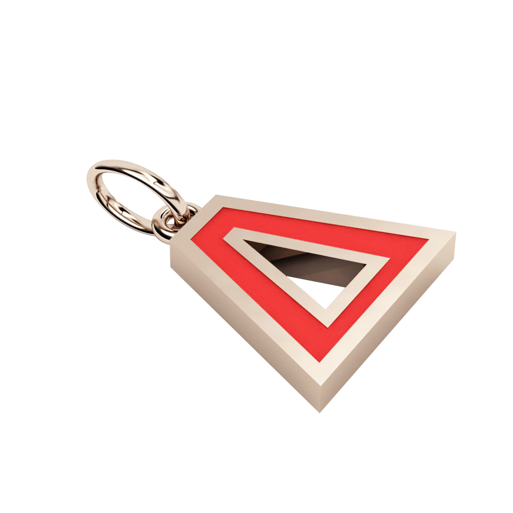Alphabet Capital Initial Greek Letter Δ Pendant, made of 925 sterling silver / 18k rose gold finish with red enamel
