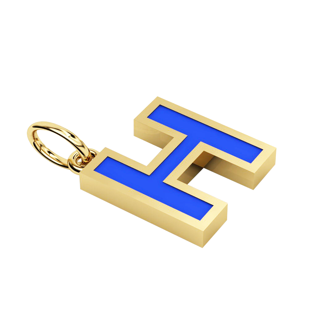 Alphabet Capital Initial Greek Letter Η Pendant, made of 925 sterling silver / 18k gold finish with blue enamel