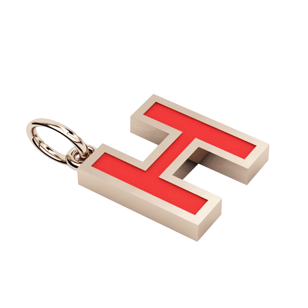 Alphabet Capital Initial Greek Letter Η Pendant, made of 925 sterling silver / 18k rose gold finish with red enamel