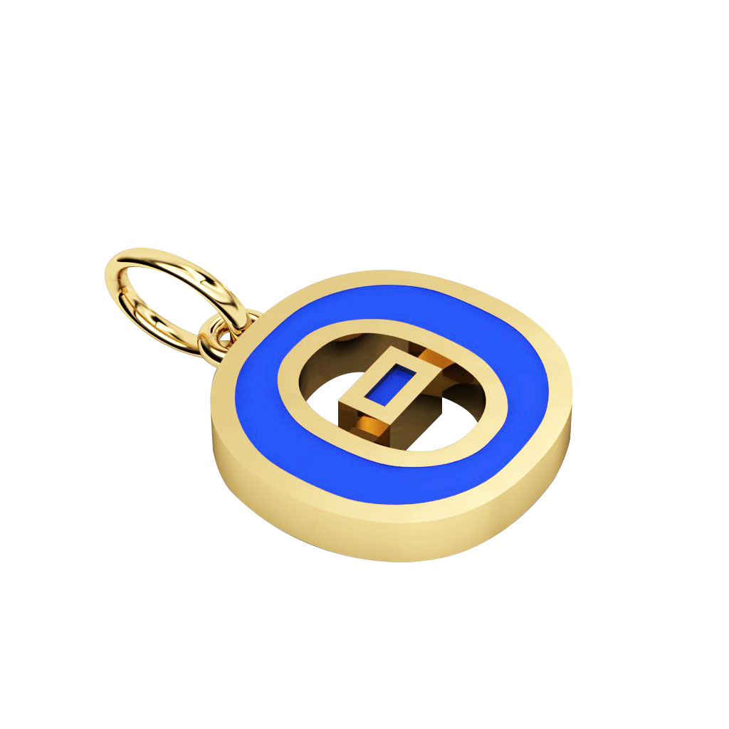 Alphabet Capital Initial Greek Letter Θ Pendant, made of 925 sterling silver / 18k gold finish with blue enamel