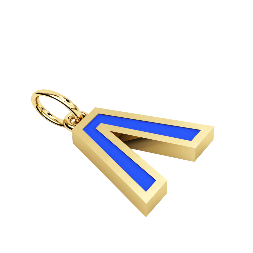 Alphabet Capital Initial Greek Letter Λ Pendant, made of 925 sterling silver / 18k gold finish with blue enamel