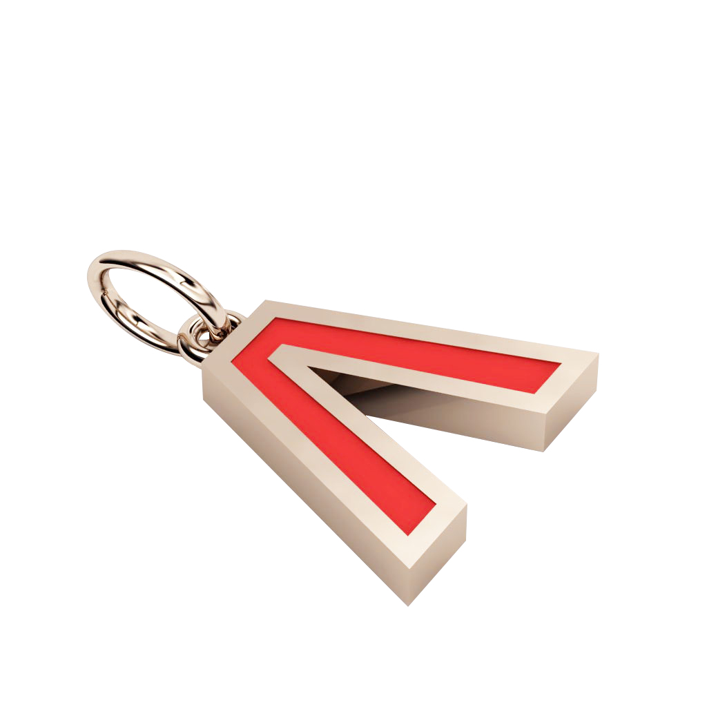 Alphabet Capital Initial Greek Letter Λ Pendant, made of 925 sterling silver / 18k rose gold finish with red enamel