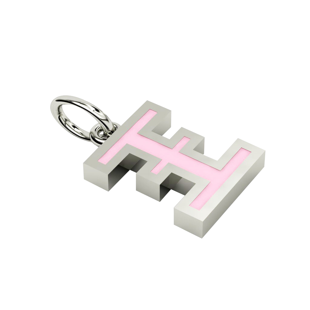 Alphabet Capital Initial Greek Letter Ξ Pendant, made of 925 sterling silver / 18k white gold finish with pink enamel