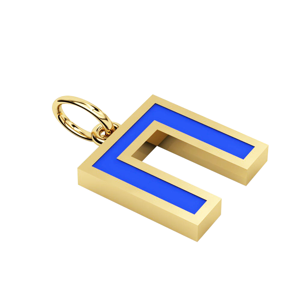 Alphabet Capital Initial Greek Letter Π Pendant, made of 925 sterling silver / 18k gold finish with blue enamel