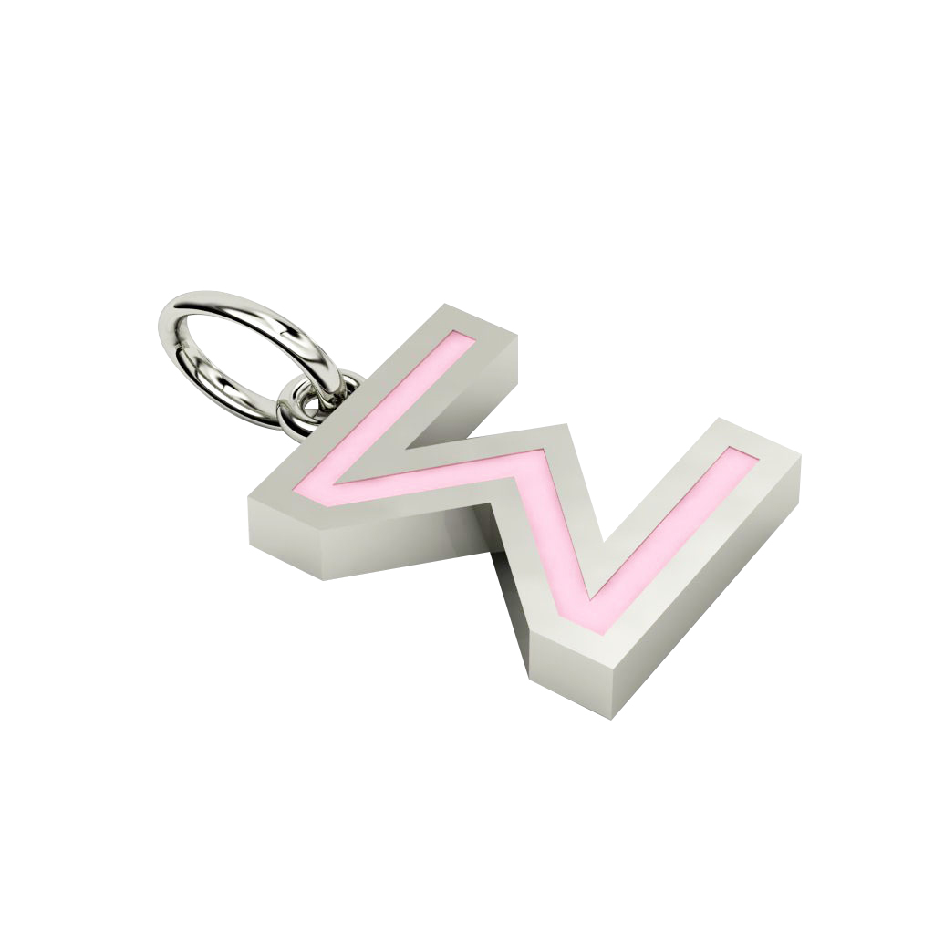 Alphabet Capital Initial Greek Letter Σ Pendant, made of 925 sterling silver / 18k white gold finish with pink enamel