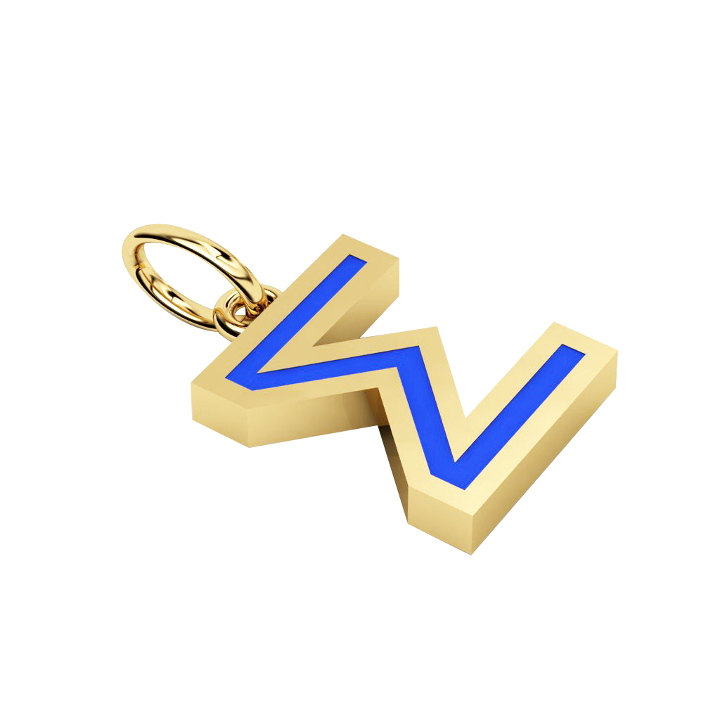 Alphabet Capital Initial Greek Letter Σ Pendant, made of 925 sterling silver / 18k gold finish with blue enamel