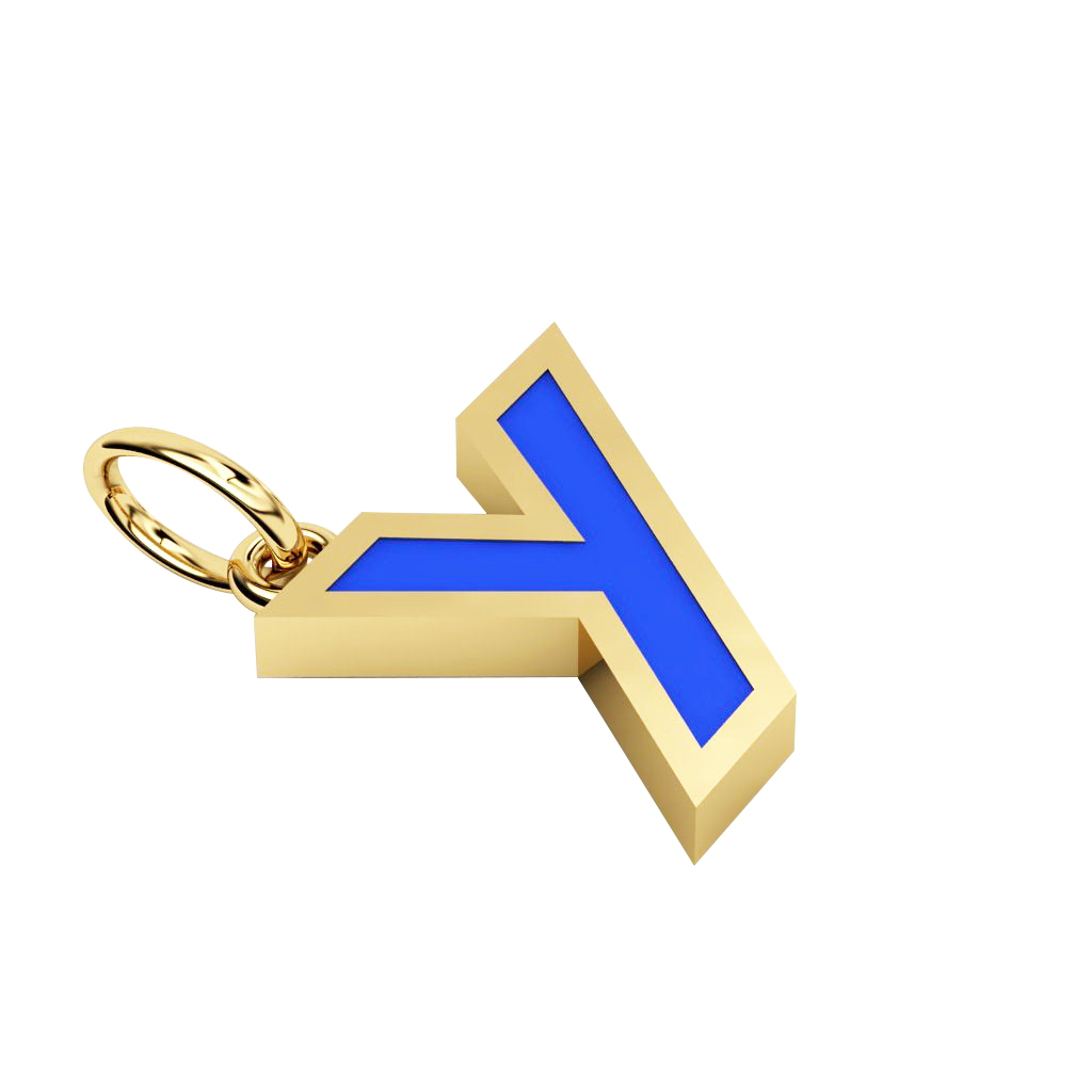 Alphabet Capital Initial Greek Letter Υ Pendant, made of 925 sterling silver / 18k gold finish with blue enamel