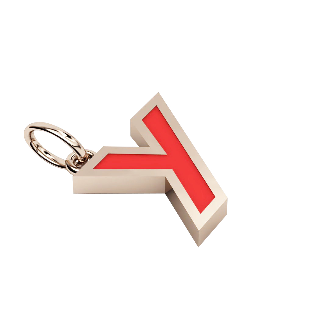 Alphabet Capital Initial Greek Letter Υ Pendant, made of 925 sterling silver / 18k rose gold finish with red enamel