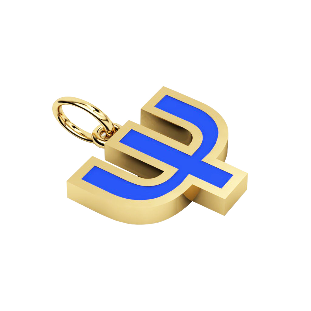 Alphabet Capital Initial Greek Letter Ψ Pendant, made of 925 sterling silver / 18k gold finish with blue enamel
