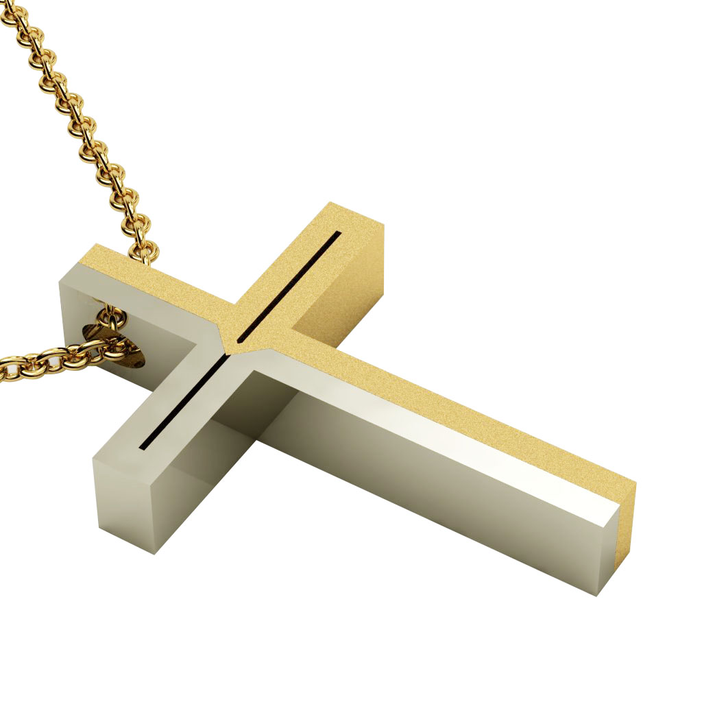 Dichromate Double Arrow Cross 3, made of 14 karat gold / white-gold