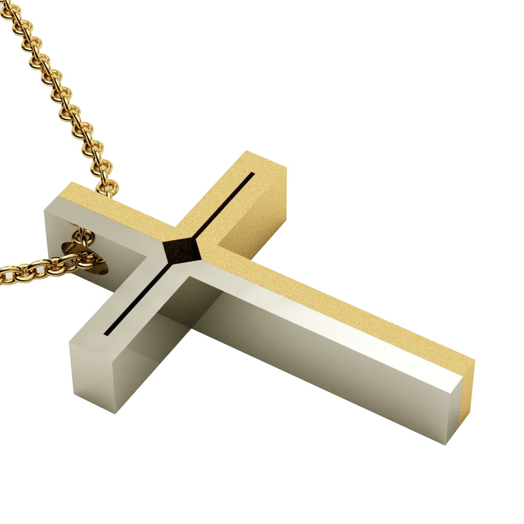 Dichromate Double Rhombus Cross 1, made of 14 karat gold / white-gold
