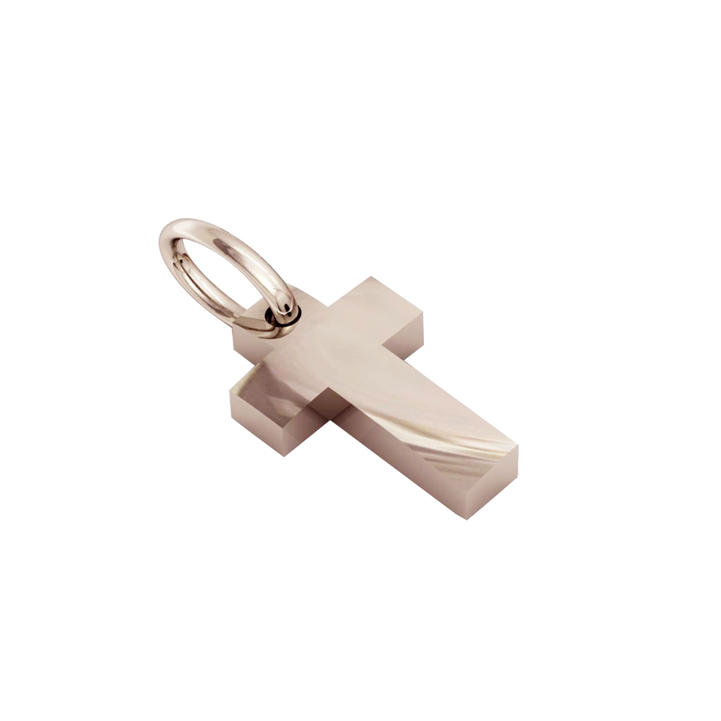 Small Cross Pendant, hand finished, made of 14 karat rose gold